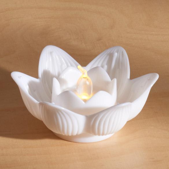 Bougies à LED Lotus, blanc