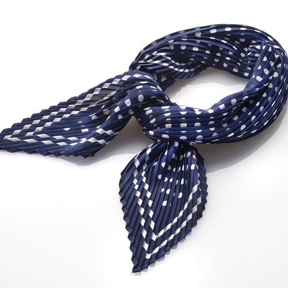 Foulard en plissé, bleu/blanc