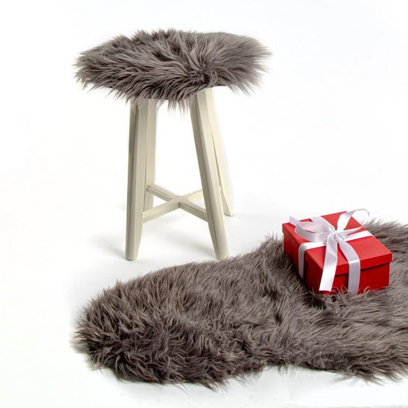 Coussin de siège fourrure, gris