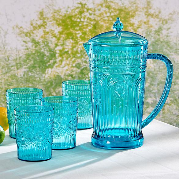 Carafe et 4 verres, bleu