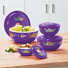 Lot de 4 plats pour four à micro-ondes + couvercles, violet