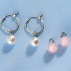 Lot de boucles d'oreilles Perle + quartz rose