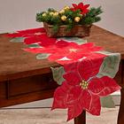 Chemin de table poinsettias, rouge