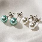 Les 2 paires de boucles d'oreilles, blanc + bleu