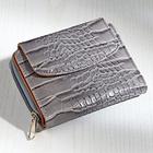 Portemonnaie aspect croco, gris