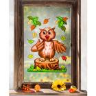 Décoration de fenêtre Chouette et feuille d'automne