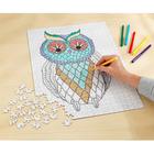Puzzle à colorier Hibou, + 6 feutres