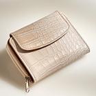 Portemonnaie aspect croco, beige