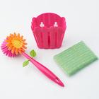 Ensemble brosse à vaisselle fleur et chiffon