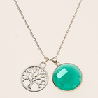 Collier arbre de vie et pierre verte